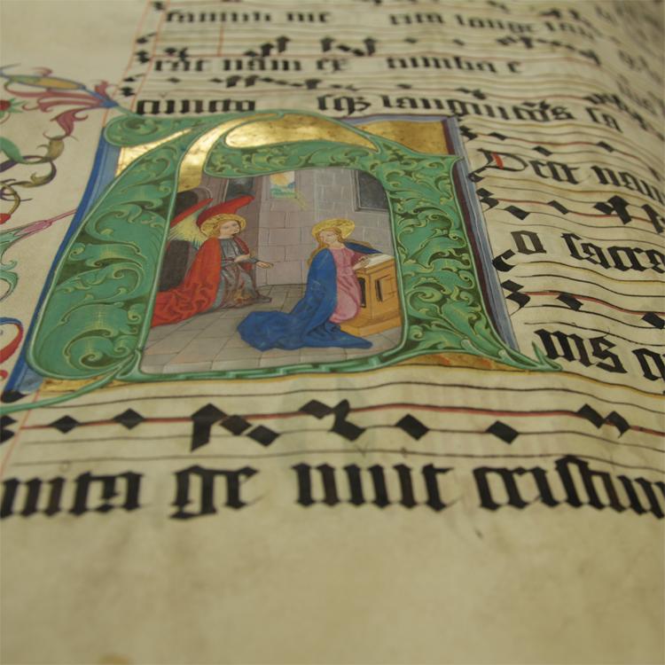 Buchmalerei in einem großformatigen Chorbuch auf Pergament