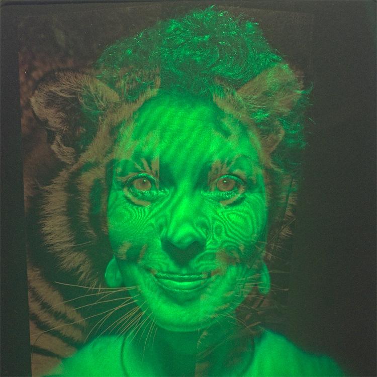 Das virtuelle Bild einer Holografie während der Restaurierung